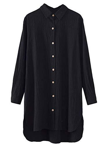 Minibee Women's Solid Hi Low Blouse Tops T-Shirt Dresses Black ()