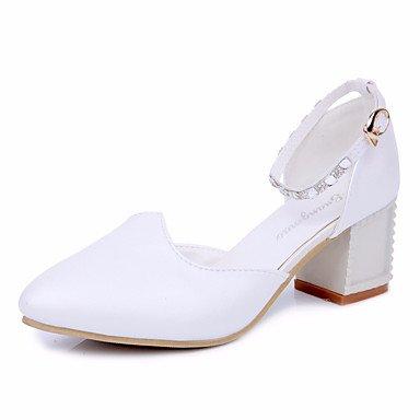 Bleu ggx Femme Polyuréthane à Rose Talons Chaussures LvYuan Eté Plat Blanc white qwFfS88