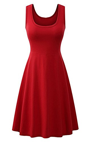 Laceshe Girl's Simple A-line Cocktail Party Dresses Short Bridesmaids Sleeveless Dresses-L-Burgundy
