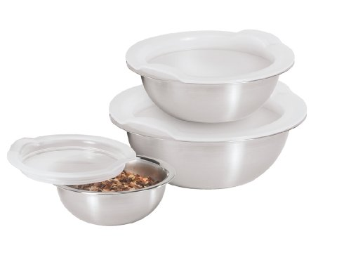 (Oggi Stainless Steel Pinch Bowls with Airtight Lids, Individual Sizes, Set of 3)