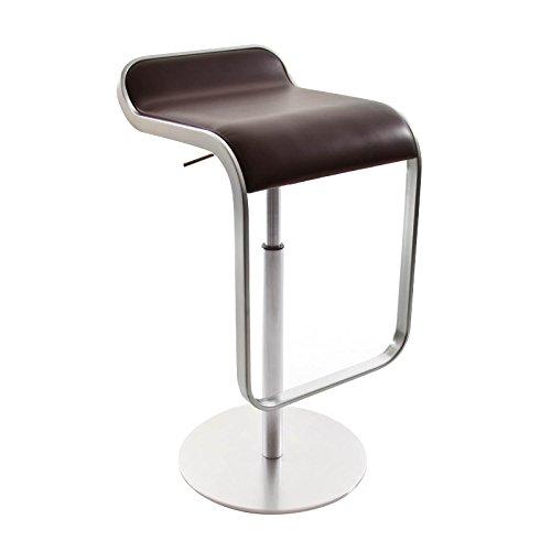la palma Lem 55-67 Barhocker Gestell chrom matt, dunkelbraun Leder Sitzfläche gepolstert