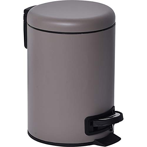 EVIDECO 6544165 Nordic Collection Soft Close Small Round Metal Bath Floor Step Trash Can Waste Bin 3-liters/0.8-gal, 10