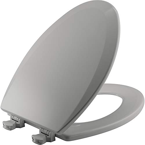 BEMIS 1500EC 162 Toilet Seat with Easy Clean & Change Hinge, ELONGATED, Durable Enameled Wood, Silverado