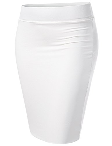 - NEARKIN (NKNKW5S Beloved Womens Waistband Double Layered Pencil Midi Skirt White US XL(Tag Size 2XL)