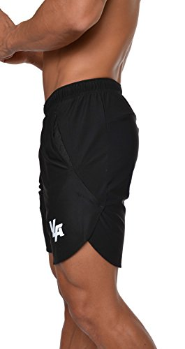YoungLA Men's Running Shorts Athletic Gym Jogging Workout Powerlifting with Front Pockets Black - Men's 3 Shorts Running