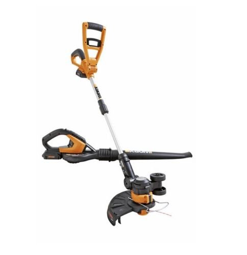 Wg918 Worx 20V Grass Trimmer   Blower Combo With 2 Batteries