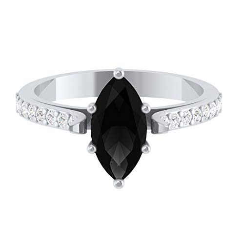 Hanssini Jewels 14k White Gold Plated 1.25 CT Marquise Cut Black Solitaire Diamond Engagement Ring ()