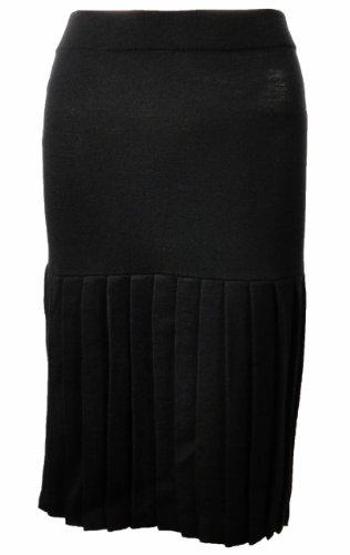 Sutton Studio Wool Pleated Hem Skirt Black PM [Apparel]