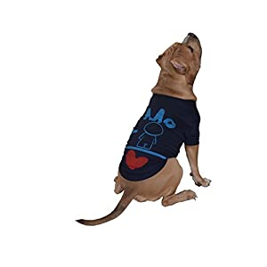 Doxters S-10 Dog T Shirts with Me and Human is Love Print Cotton for Small Dogs and Puppies (Navy Blue Size-10)