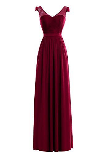 Neck Bridal Dress Burgundy Party Women Prom Double Evening V Dora Maxi amp;Acute;s qXO6ZZw