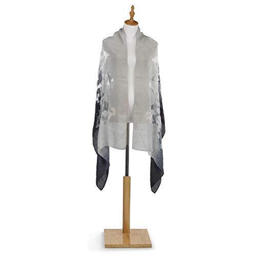 DEMDACO Damask Black Grey 75 X 25 Rayon Organza Fabric Sheer Pashmina Shawl