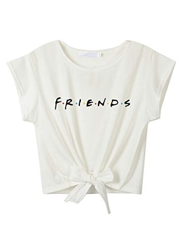Women's Casual Friend Letter Print Juniors Girls Crop Tops White Tie Front Knot Crops Tshirt S
