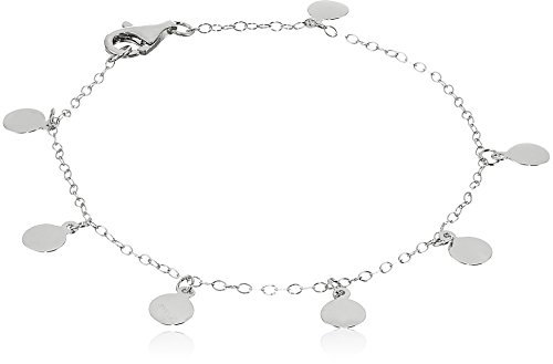 Sterling Silver Multi-Disc Drop Strand Bracelet, - Multi Strand Disc
