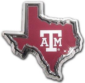 Texas A&M Aggies Texas Shaped Color Chrome Metal Auto Emblem