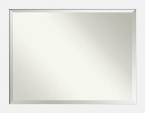 Amanti Art Framed Vanity Mirror Bathroom Mirrors for Wall Corvino White Mirror Frame Solid Wood Mirror X-Large Mirror 34.88 x 44.88 in.