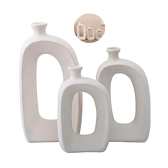 Anding White Ceramic Vase - 3 Set Vases. Matte Design - Modern Vase Decoration. Perfect Home Decoration Vase (LY688set) - SIZE;Large; 9.84 inches high, 5.5 inches wide, medium; 7.87 inches tall, wide; 4.33 inches, small; 6.69 inches high and 3.3 inches wide. Material: 100% ceramic material, handmade Production method: hand-made by old craftsman, white ceramic vase matte design - vases, kitchen-dining-room-decor, kitchen-dining-room - 31%2Bn gcRkBL. SS570  -