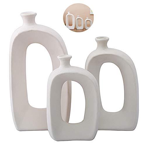Anding White Ceramic Vase - 3 Set Vases. Matte Design - Modern Vase Decoration. Perfect Home Decoration Vase (LY688set) ()