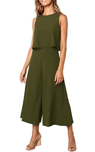 Angashion Women's Jumpsuits-Casual Sleeveless Overlay Wide Leg Long Palazzo Pants Jumpsuit Rompers Playsuit Green ()