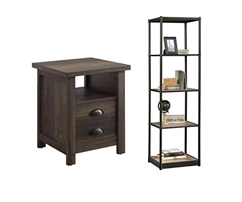 Better Homes & Gardens Bailey Inn Tower Bookcase, Washed Oak Finish Bundle with Better Homes and Gardens Granary Modern Farmhouse End Table, Aged Brown Ash, Brown