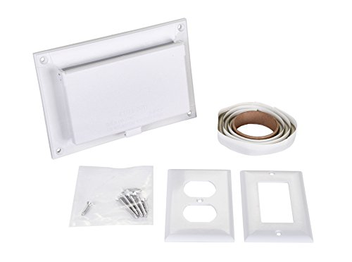 Arlington DBHR131W-1 Low Profile IN BOX Electrical Box with Weatherproof Cover for Retrofit Siding Construction, 1/4-Inch or 5/16-Inch Lap, Horizontal, White by Arlington Industries
