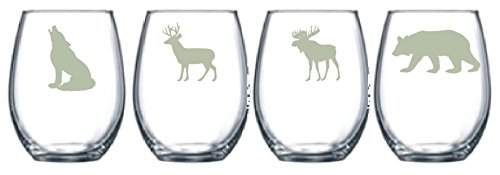 Wildlife Choice of Pilsner, Beer Mug, Pub, Wine Glass, Coffee Mug, Rocks, Water Glass of 4 Moose, Bear, Wolf, Deer Etched