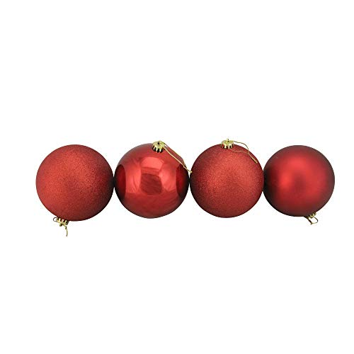4ct Red Hot Shatterproof 4-Finish Christmas Ball Ornaments 6