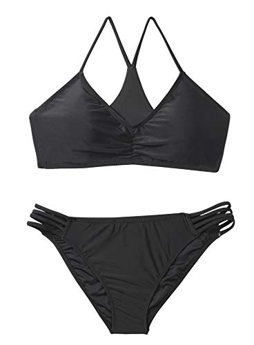 Reteron Women's Strappy Bottom Racerback Bikini Bathing Suits (Black, L)