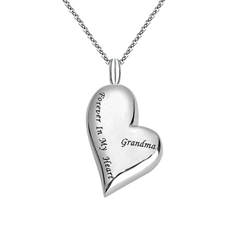 Forever My Heart Necklace Charms (ZARABE Cremation Jewelry Grandma Forever in My Heart Memorial Ash Urn Necklace (Grandma))