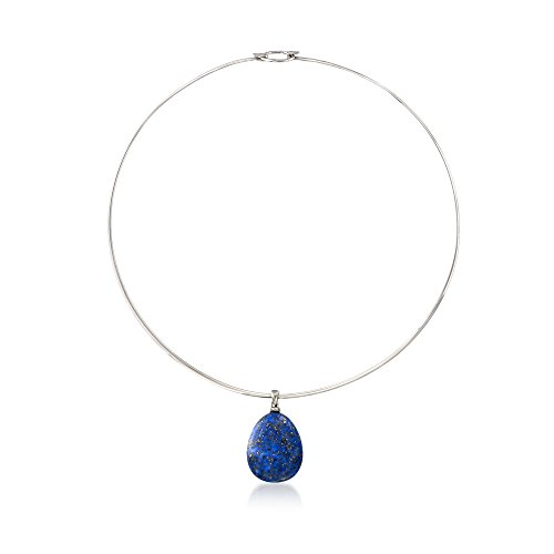 Ross-Simons Lapis Drop Pendant Collar Necklace in Sterling Silver