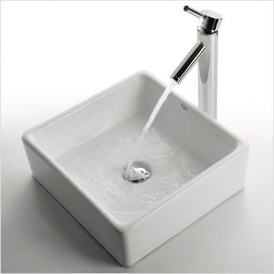 Kraus C-KCV-120-1002CH White Square Ceramic Sink and Sheven Faucet, Chrome ()