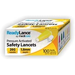 Medicore 804 ReadyLance Safety Lancet, 26 g x 1.8 mm (Pack of 100)