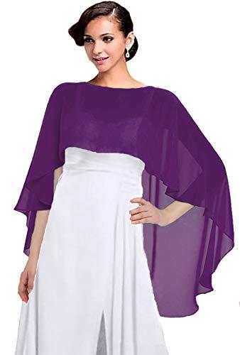 Women Chiffon Cape Bridal Soft Chiffon Scarves Shawls Wraps Beach Cover Up Wedding Bridal Capelet Evening Shawls (Dark Purple)