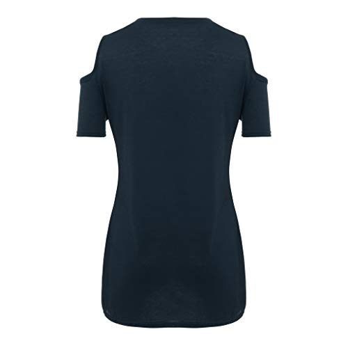 IAMUP Ladies Casual Short Sleeve Tops Strapless Solid Elegant T-Shirt Loose Soild O Neck Top Blouse Navy by IAMUP (Image #5)