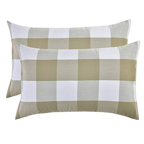 (Artcest Set of 2, Decorative Cotton Blend Dyed Bed Throw Pillow Case, Sofa Durable Plaid Pattern, Comfortable Couch Cushion Cover (Tan, 12 X 20 Inches))
