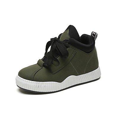 5 5 Per Up Piatto UK4 Verde EU37 CN37 Stivali US6 7 Moda Donna Toe Rotondo 5 Stivali Inverno Pu Tacco Nero Scarpe Casual Lace Marrone RTRY qSAHff