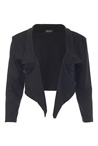 Crop Blazer (FashionMark Womens 3/4 Sleeves Waterfall Cropped Blazer Jacket Top)