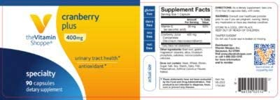 The Vitamin Shoppe Cranberry Plus 400MG, Natural Antioxidant Supplement That Supports Urinary Tract Health 90 Capsules