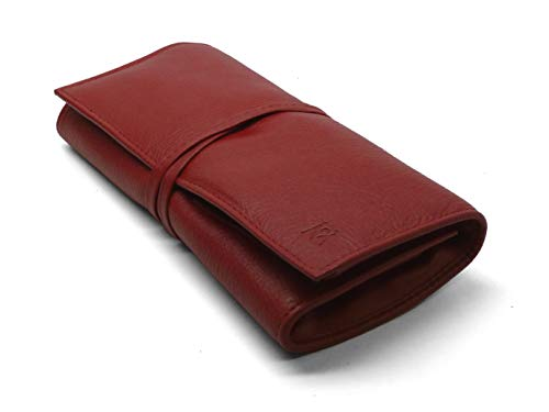 Red Leather roll up case with tie for Eight or More Tools, Made by GERmanikure ()