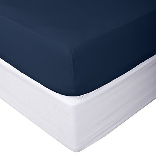 "Acrilan Bedding Premium Quality 1 Piece Fitted Sheet (Bottom Sheet Only) Extra Long Fit Upto 15"" inches Deep Pocket 600 Thread Count 100% Pure Egyptian Cotton Solid Pattern King Navy Blue"