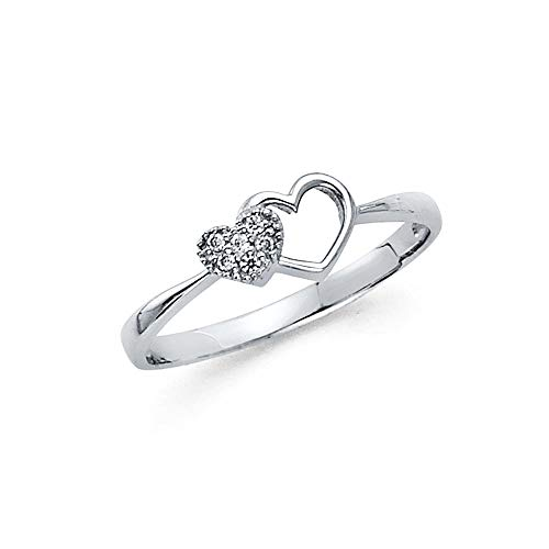 Wellingsale Ladies Solid 14k White Gold CZ Cubic Zirconia Pave-Set Double Open Heart Design Right Hand Fashion Ring - Size 4