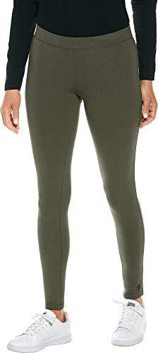 Coolibar UPF 50+ Women's Summer Leggings - Sun Protective (X-Small- Deep Olive)