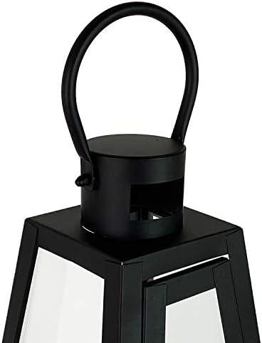 INDA Exclusiv XXL - Juego de 3 Juego de faroles de jardín con forma de pirámide (27/40/55 cm), color negro