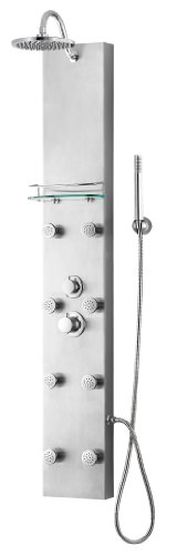 "Blue Ocean 57"" Stainless Steel SPS8801 Thermostatic Shower Panel with Rainfall Shower Head, Body Nozzles, and Handheld Shower Head Blue Ocean"