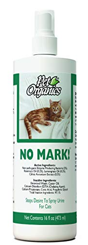 NaturVet - Pet Organics No Mark Spray For Cats - 16 oz - Deters Cats From Urine Marking & Eliminates Impulse to Remark - Safe for Use On Indoor Surfaces