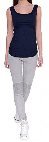 Happy Mama. Para mujer camiseta sin mangas premamá lactancia. Doble capa. 961p Armada