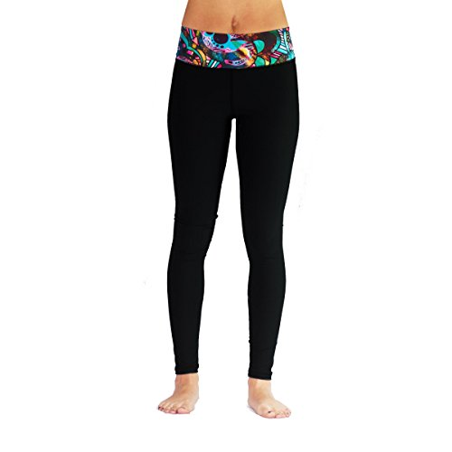 Monasita Womens High Waisted Slimming Active Leggings For Gym, Yoga, Water Sports, Surfing, Swimming (Small, Rich Elephant Black)