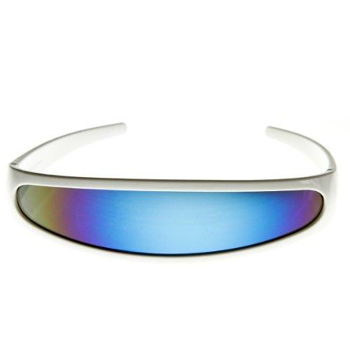 Futuristic Narrow Cyclops Color Mirrored Lens Visor Sunglasses (White Ice)