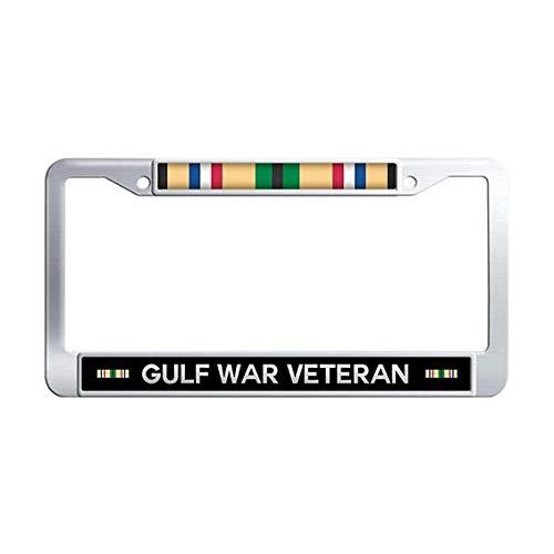 Gulf War Veteran License Plate Frame,Stainless Steel Auto License Cover Holder ()