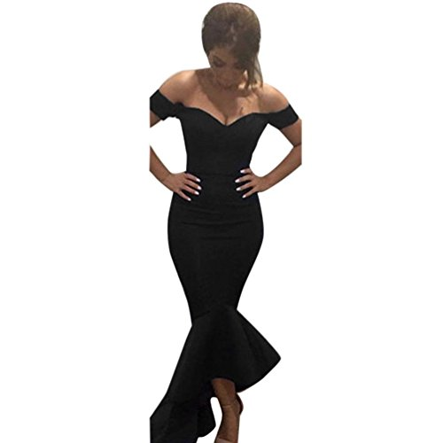 Pvc Gowns (Besde Women's Deep V Neck Off Shoulder Bodycon Party Cocktail Dress Club Dress Mermaid Party Evening Dress (Black, XL))