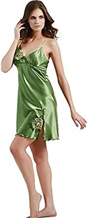 Silk Materials With Side Split And V-neck Design For Ladies Nightwear-green Color